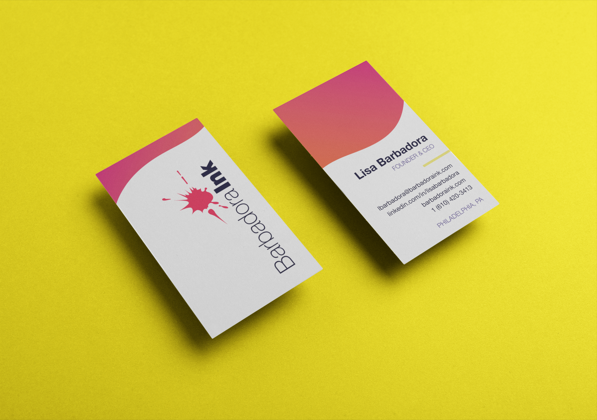 Business card mockup for Barbadora INK brand
