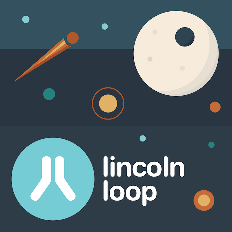 Illustrtion of Lincoln Loop logo in space with moon and stars