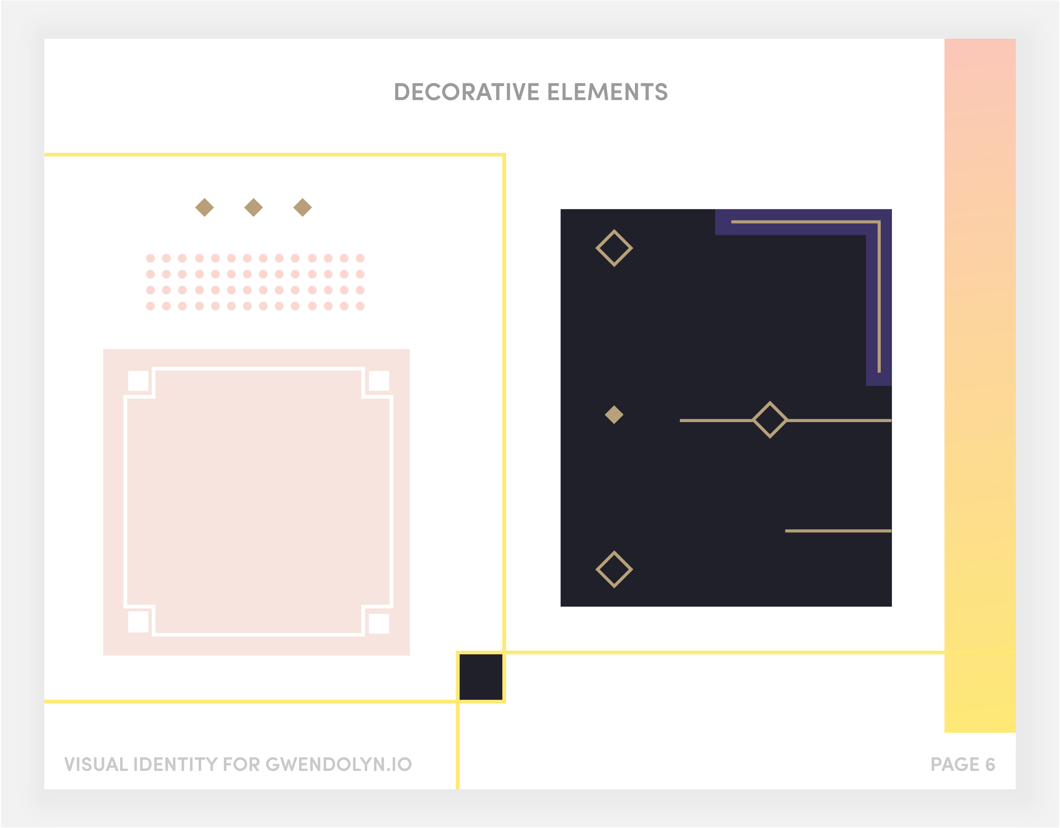 Visual elements page from brand documentation