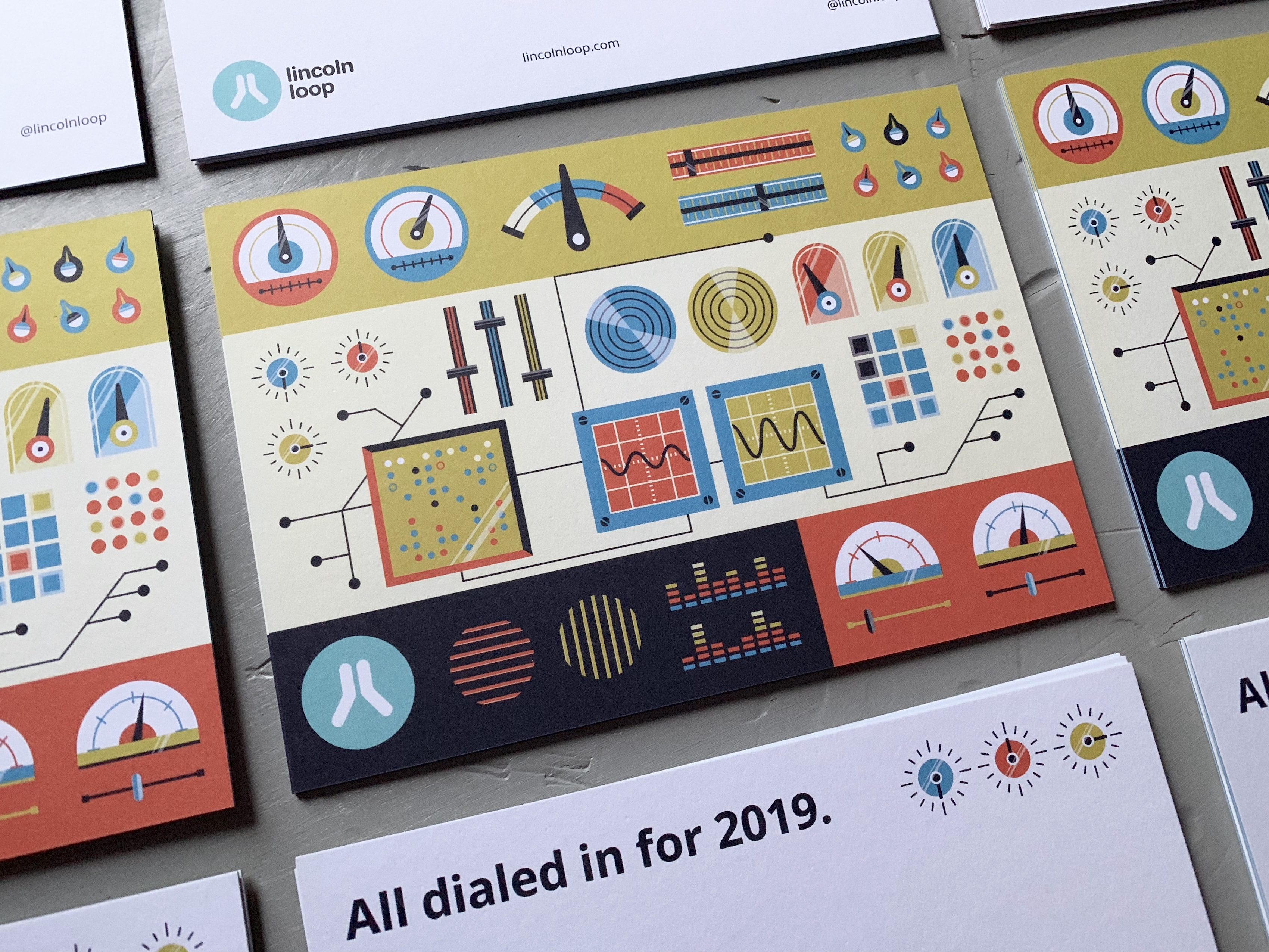 Illustration of many dials on a 2018 New Year's card