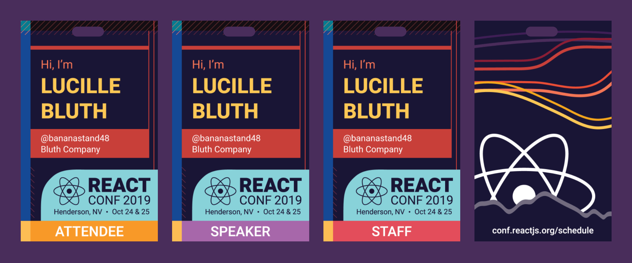 Screenshot of the React Conf 2019 badge designs