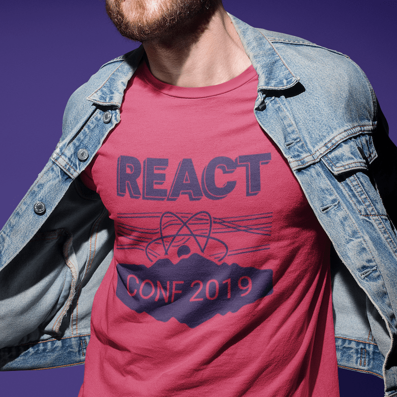 Mockup for a t-shirt design for React Conf 2018