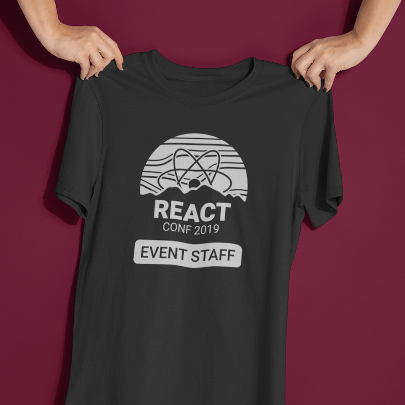 Preview of a staff shirt design for React Conf 2018 with mountain scene