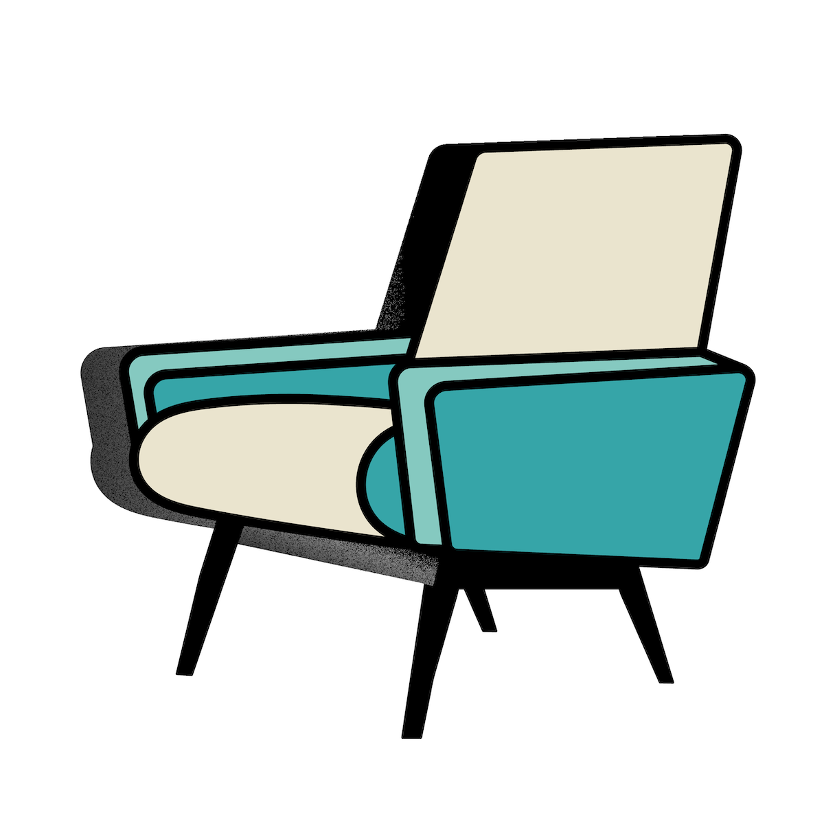 Retro teal chair illustration