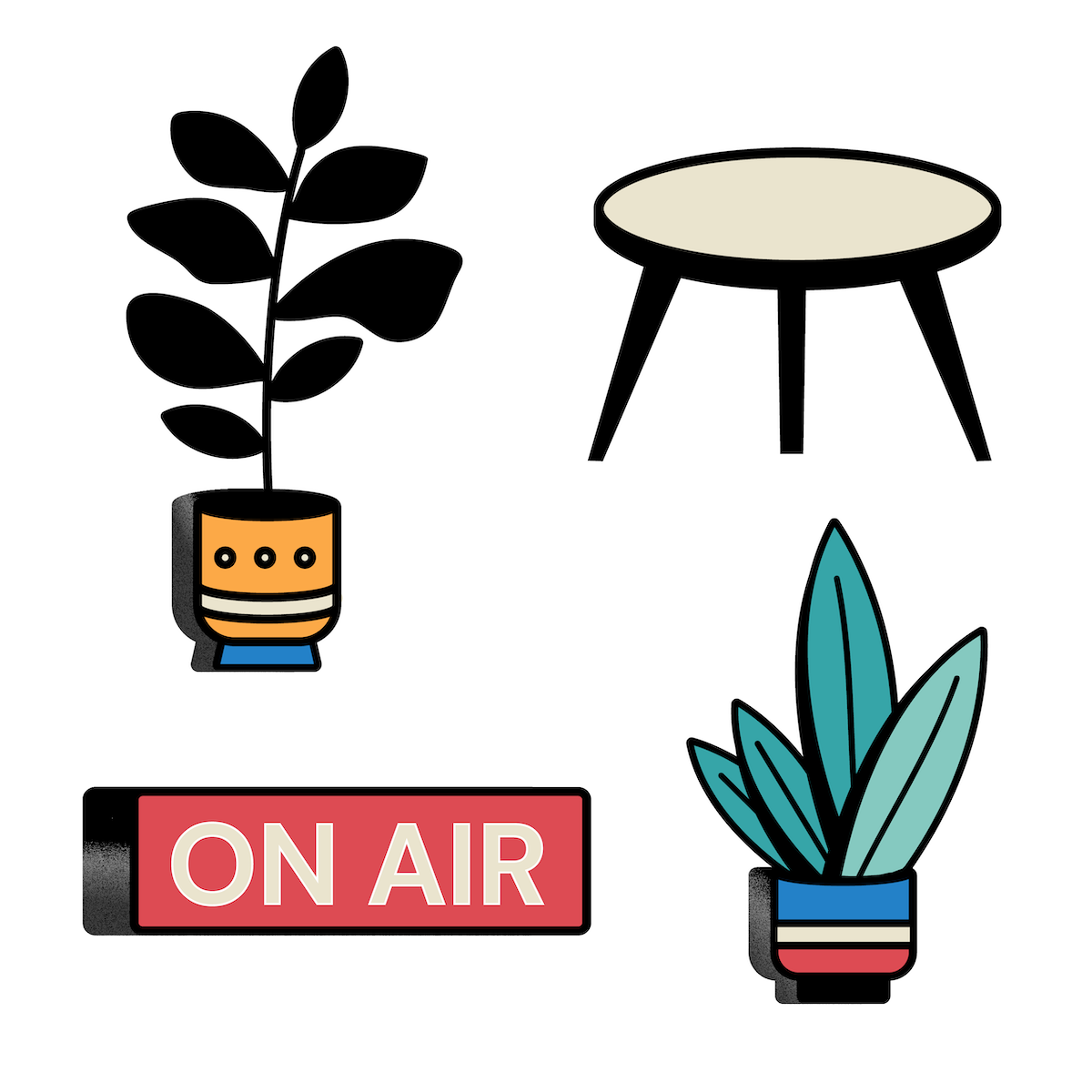 Illustrations of plants and a stand