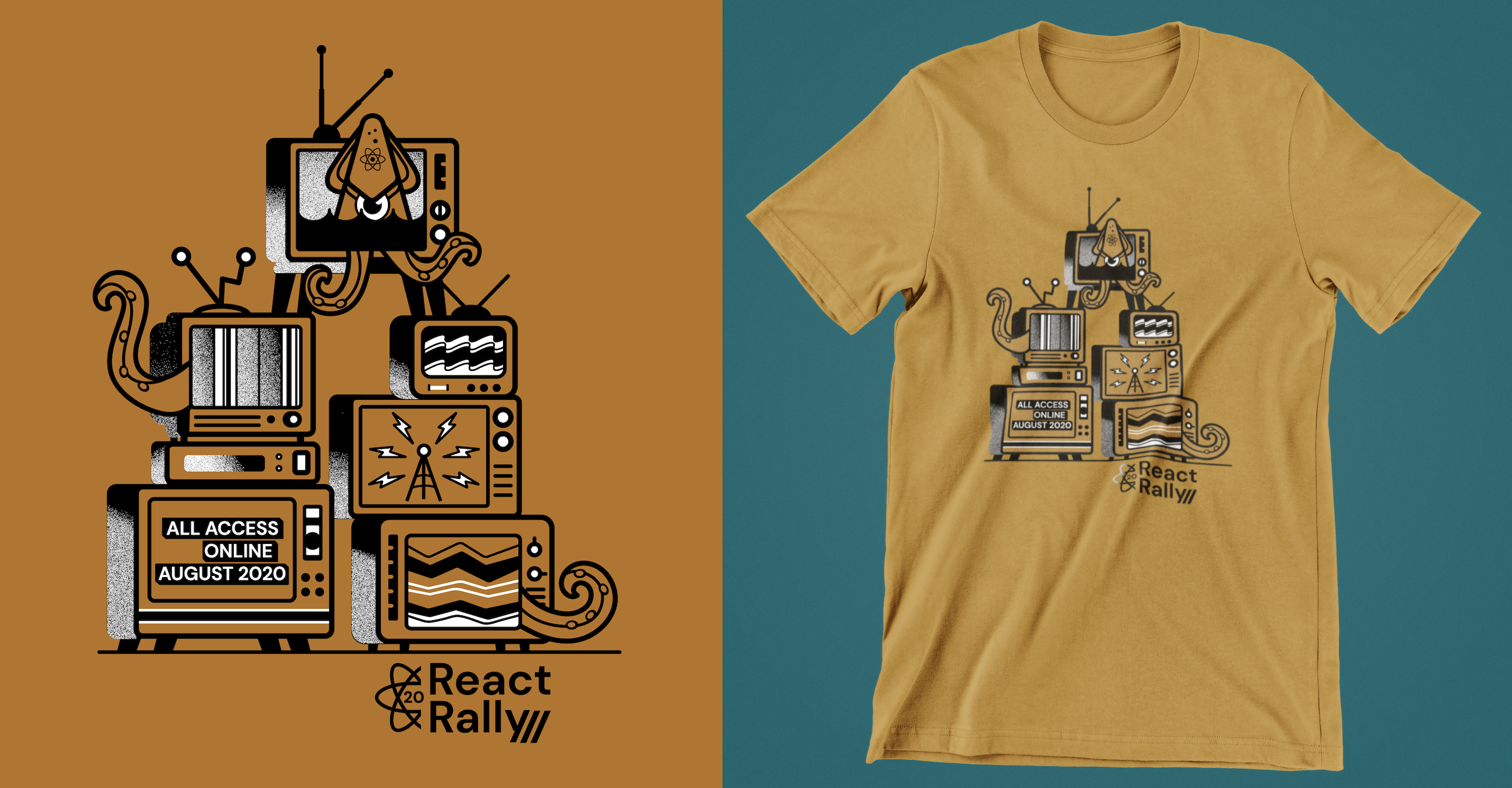 React Rally 2020 t-shirt design with stacked TVs and a squid