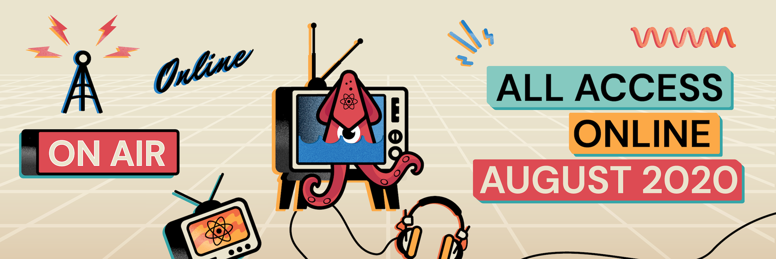 React Rally 2020 Twitter banner with squid coming out of an old TV