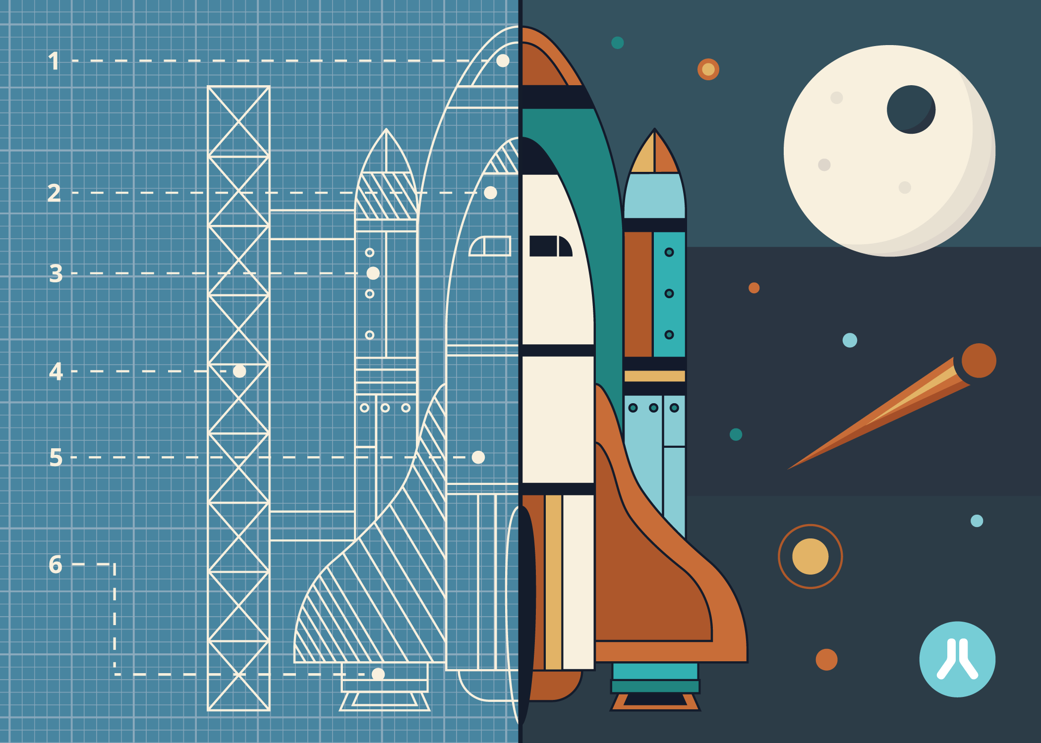 Illustration of half rocket blue print and half completed rocket in space